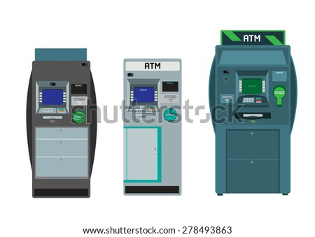 Set of Flat ATM Machines with vaults and hidden CCTV camera in different colors and sizes. - stock vector