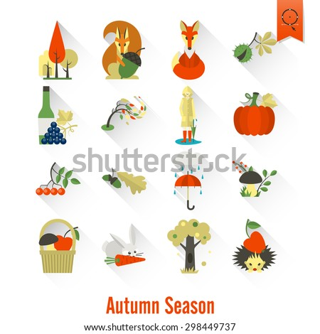 Set of Flat Autumn Icons. Simple and Minimalistic Style. Vector - stock vector