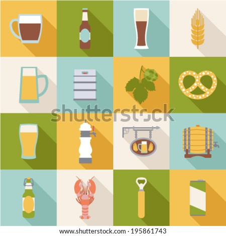 set of flat beer icons  - stock vector