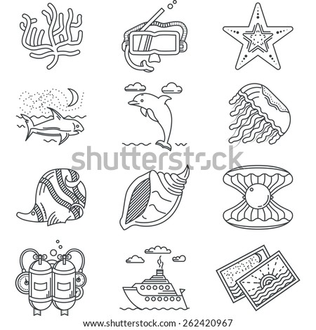 Set of flat black line vector icons for sea or ocean diving and swimming on white background. - stock vector