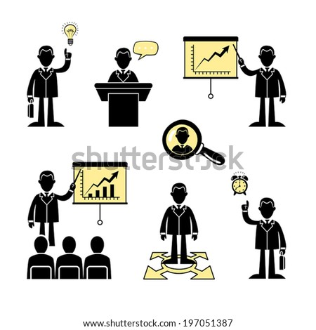 Set of flat business and corporate icons. Vector. - stock vector