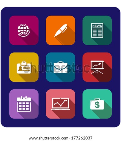 Set of flat business icons on buttons with a globe, pen, newspaper, graph, briefcase, identification, money, calendar and presentation board in vector cartoon silhouettes - stock vector