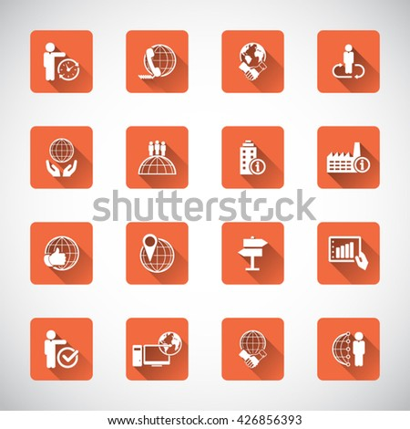 Set of 16 flat, business related icon set - stock vector
