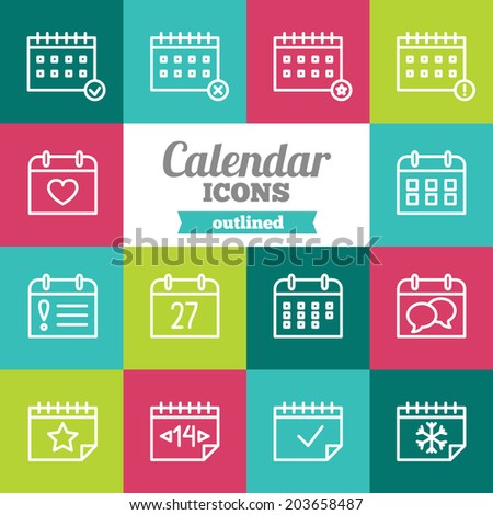 Set of flat calendar icons  - stock vector