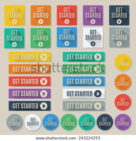 Set of flat call to action button text that says get started.  Buttons feature popular color palette for flat UI designs and long drop shadows. - stock vector