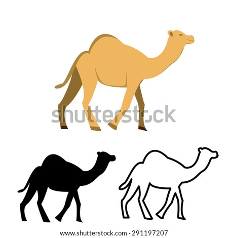 Set of flat camel and black silhouettes on white background - stock vector
