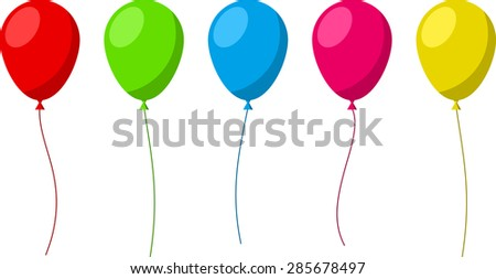 Set of flat celebration balloons. Vector illustration.  - stock vector