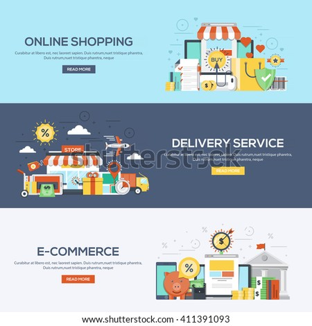 Set of flat color design web banners for Online Shopping, Delivery Services and E-Commerce.Vector - stock vector