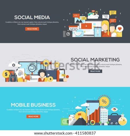 Set of flat color design web banners for Social Media, Social Marketing and Mobile Business.Vector - stock vector