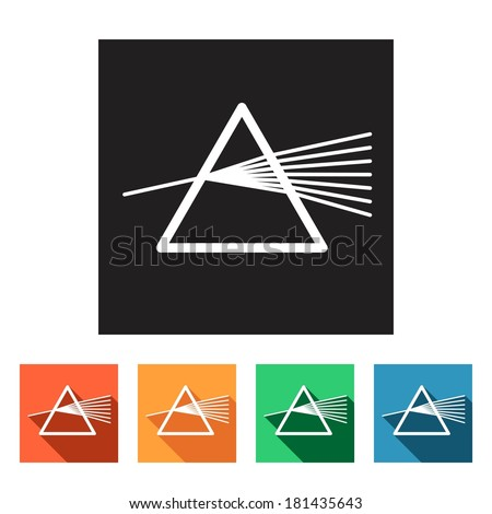 Set of flat colored simple icons (dispersion, dispersive prism, physics), vector - stock vector