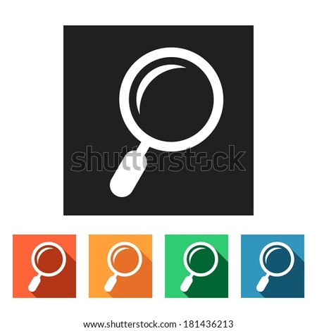 Set of flat colored simple icons (magnifying glass, search, zoom), vector illustration - stock vector