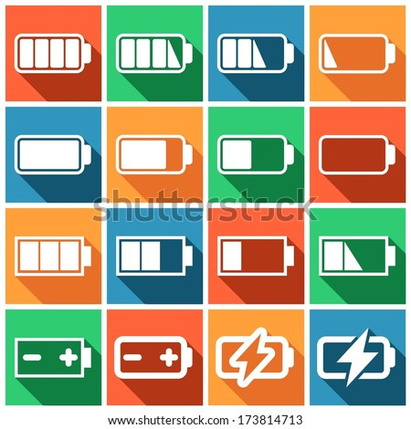 Set of flat colored simple web icons (charge level indicators, batteries, accumulators ), vector illustration - stock vector