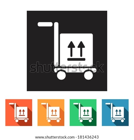 Set of flat colored simple web icons (handcart, freight, delivery), vector illustration - stock vector
