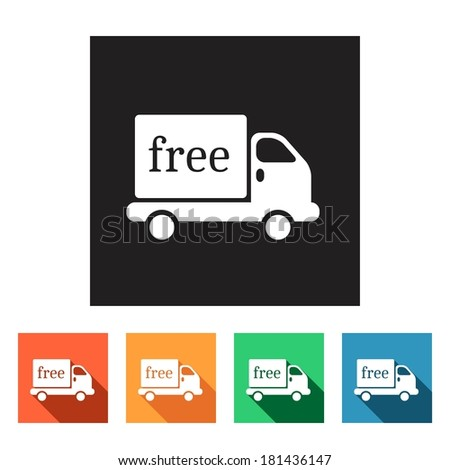 Set of flat colored simple web icons (logistics, truck, delivery, lorry), vector illustration - stock vector