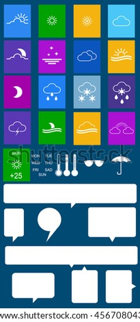 Set of flat colored weather icons with speech bubbles. Vector - stock vector