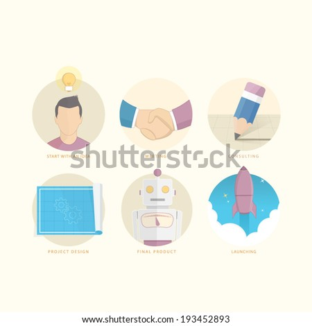 Set of flat colorful concept elements with icons for website, mobile and print brochure or stationery - stock vector