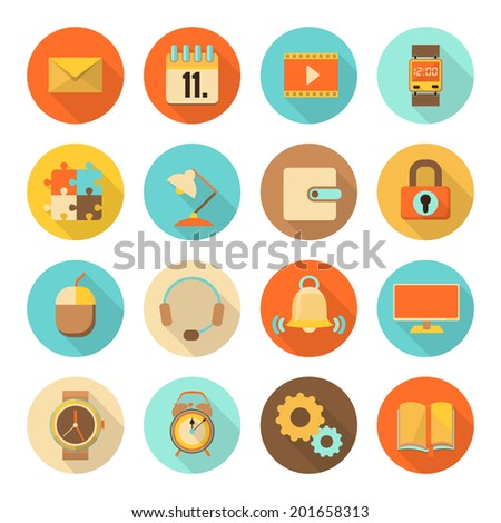 set of flat colorful icons with long shadow, isolated on white background, vector illustration, eps 10 with transparency - stock vector