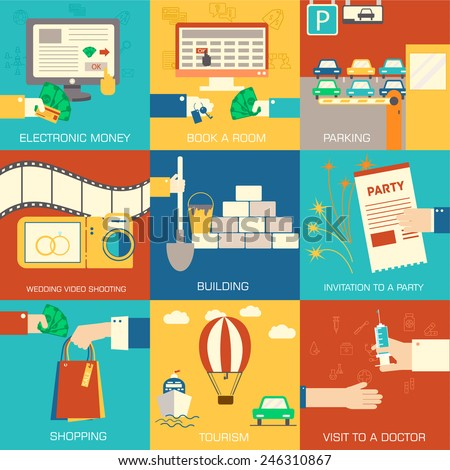 set of flat communication concepts illustrations. Vector background design in retro style. Icons for web and mobile - stock vector