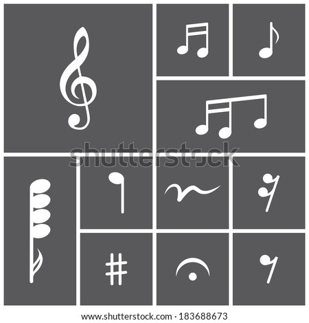 Set of flat dark simple icons (musical notes, printed music), vector - stock vector