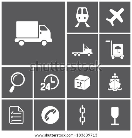 Set of flat dark simple web icons (logistics, freight, trucking industry, delivery), vector illustration - stock vector