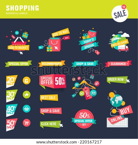 Set of flat design badges and labels for shopping - stock vector