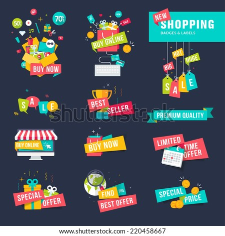 Set of flat design badges and ribbons for shopping     - stock vector
