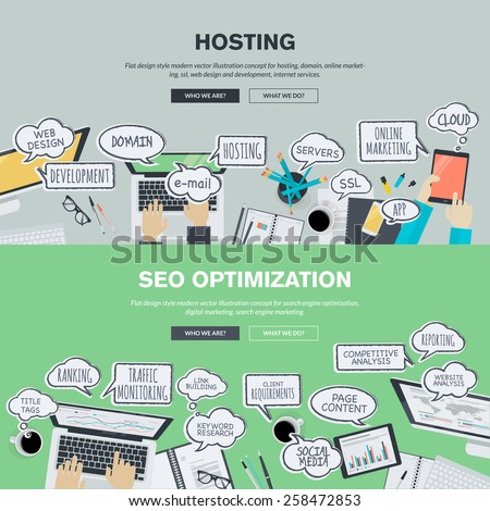 Set of flat design banners for hosting and SEO. - stock vector