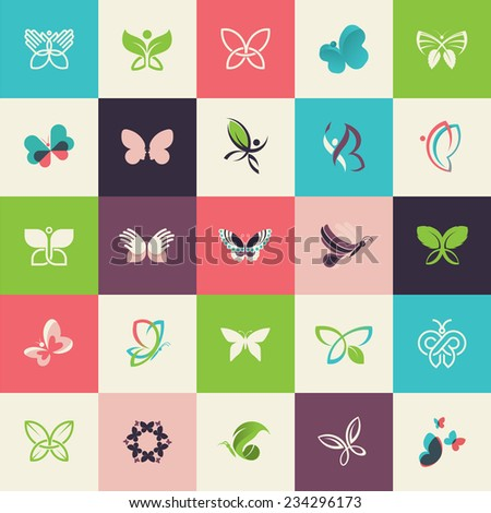 Set of flat design butterfly icons for websites, print and promotional materials, web and mobile services and apps, for cosmetics, healthcare, beauty, fashion, travel, spa, wellness, natural product. - stock vector