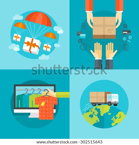 Set of flat design colorful vector illustration concepts for delivery service, e-commerce, online shopping, delivering gifts, receiving package from courier to customer isolated on bright background  - stock vector