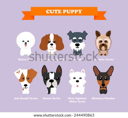 Set of flat design compositions with cute dogs - vector set of icons and illustrations - stock vector