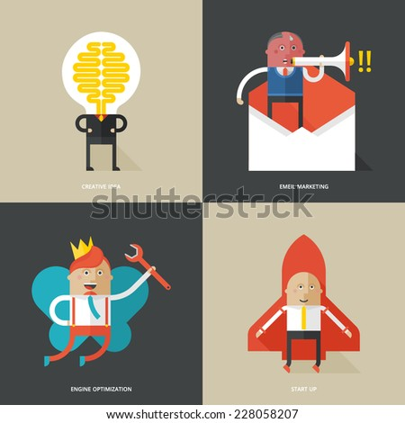 Set of flat design concept icons for business - stock vector