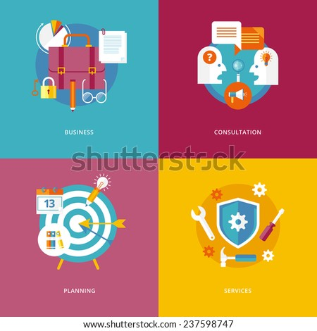 Set of flat design concept icons for business and marketing. Icons for business, consultation, planning and services. - stock vector