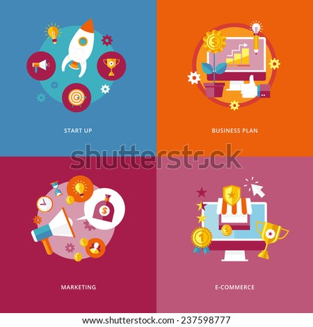 Set of flat design concept icons for business and marketing. Icons for start up, business plan, marketing and e-commerce. - stock vector
