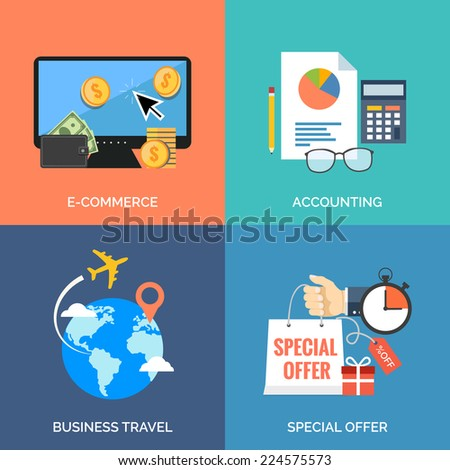 Set of flat design concept icons for business. E-commerce, Accounting, Business travel and Special offer. Vector Illustration. - stock vector