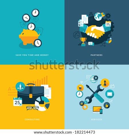 Set of flat design concept icons for business. Icons for save your time and money, partners, consulting and services. - stock vector