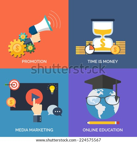 Set of flat design concept icons for business. Promotion, Time is money, Media marketing and Online education. Vector Illustration. - stock vector
