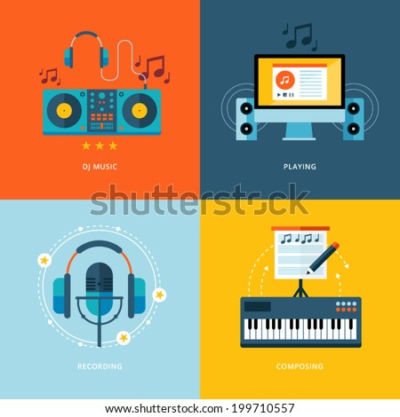 Set of flat design concept icons for music industry. Icons for dj music, playing, music recording, piano composing. - stock vector