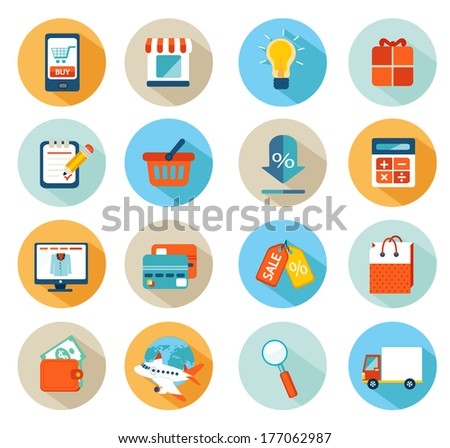 Set of flat design concept icons for online shopping. - stock vector