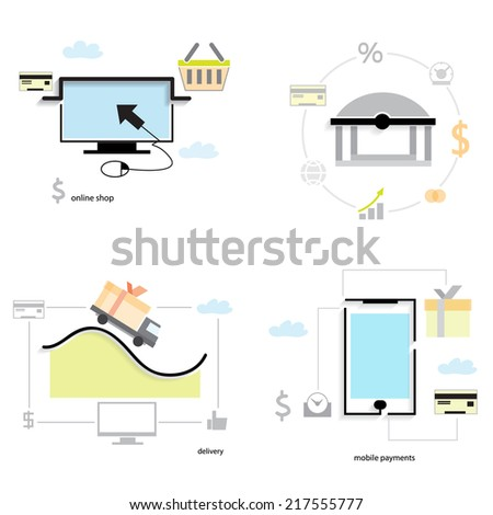 Set of flat design concept icons for online shopping, mobile payment, delivery and bank transfer - stock vector