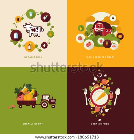 Set of flat design concept icons for organic food and drink. Icons for organic milk, farm  fresh products, locally grown and organic  food. - stock vector