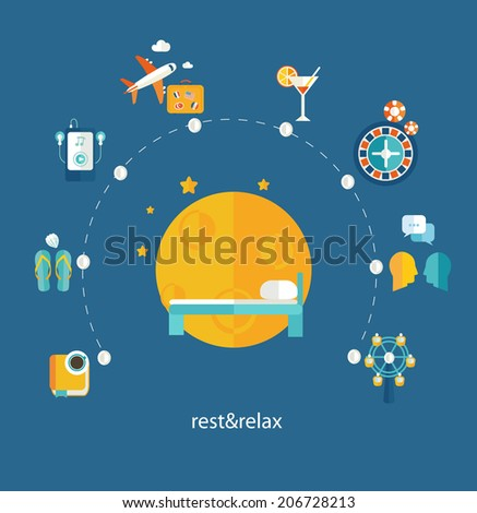 Set of flat design concept icons for web and mobile phone rest and relax. Vector.  - stock vector