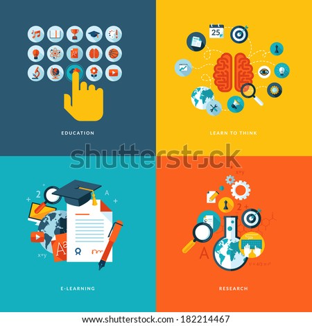Set of flat design concept icons for web and mobile phone services and apps. Icons for education, learn to think, online learning and research.  - stock vector