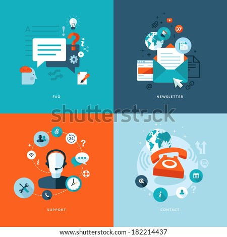 Set of flat design concept icons for web and mobile phone services and apps. Icons for faq, newsletter, support, contact. - stock vector