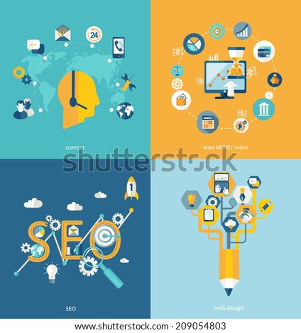 Set of flat design concept icons for web and mobile phone services and apps. SEO concept, web design and support concept. Flat vector make money concept with financial icons and dollar symbols.  - stock vector