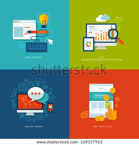 Set of flat design concept icons for web and mobile services and apps. Icons for web design, seo, social media and pay per click internet advertising. - stock vector