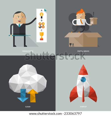 Set of flat design concept images for infographics, business, web,  - stock vector