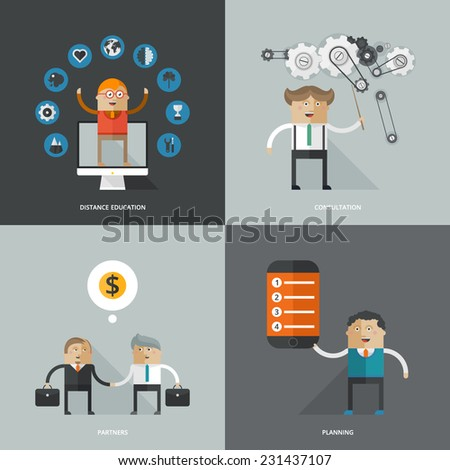 Set of flat design concept images for infographics, business, web, distance education, planning, consulting - stock vector