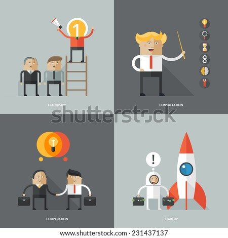 Set of flat design concept images for infographics, business, web, partnership, startup,  - stock vector