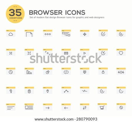 Set of flat design concept of Browser  Design for Website Banner Printable Vector Design  illustration. - stock vector