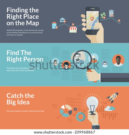 Set of flat design concepts for mobile GPS navigation, career, and business. Concepts for Finding the right place on the map for travel and tourism, employee selection, big idea in business. - stock vector